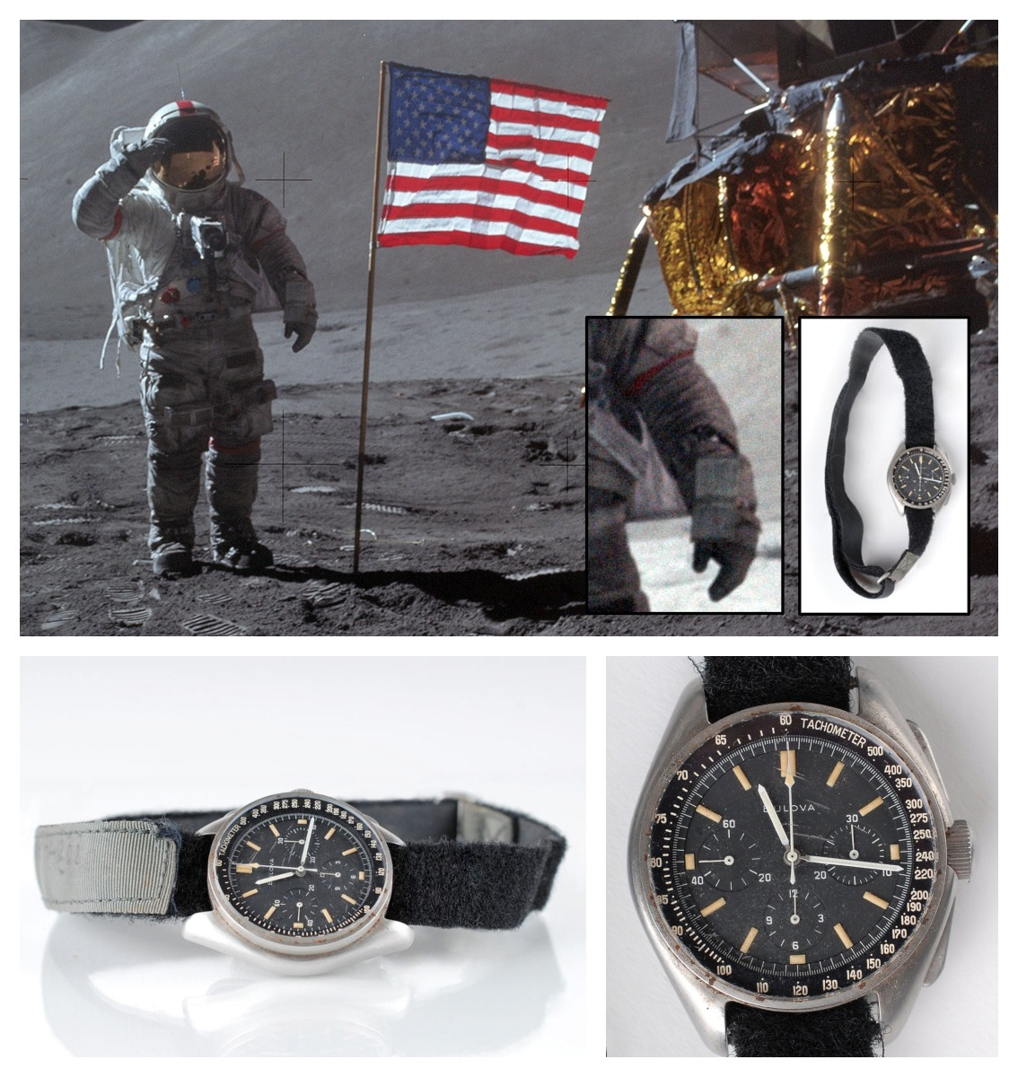 Scott wearing the Bulova chronograph while walking on the Moon and pictures of his watch sold for auction. Credits : NASA, RR Auctions.
