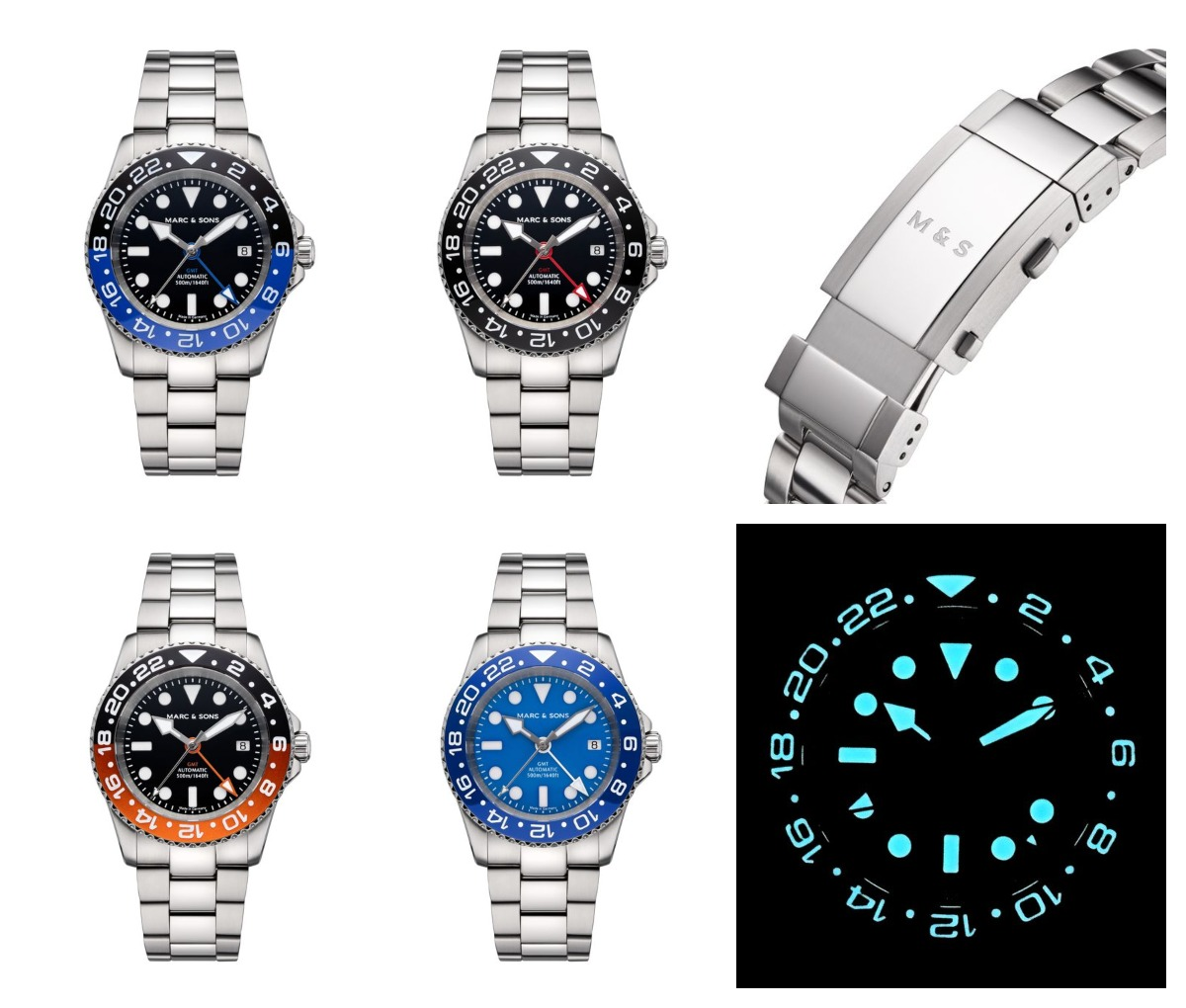 The Mark and Sons Diver watch Automatic GMT models MSG-007-1-OL-S (black-blue), MSG-007-3-OL-S (black), MSG-007-6-OL-S (black-orange) and MSG-007-4-OL-S (blue) Credits: Mark and sons