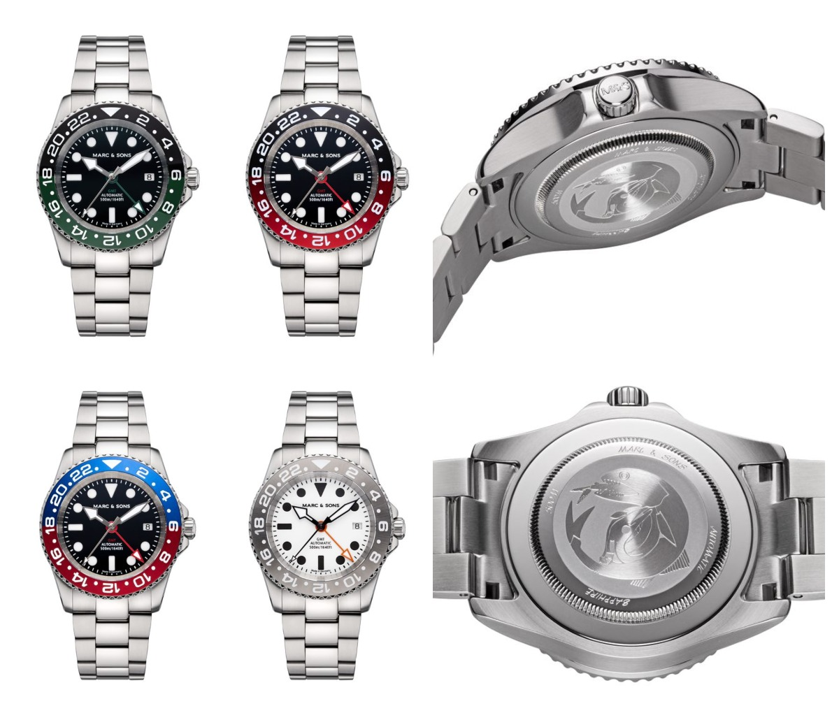 The Mark and Sons Diver watch Automatic GMT models MSG-007-2-OL-S (black-green), MSG-007-5-OL-S (black-red), MSG-007-7-OL-S (blue-red) and MSG-007-8-OL-S (white) Credits: Mark and sons