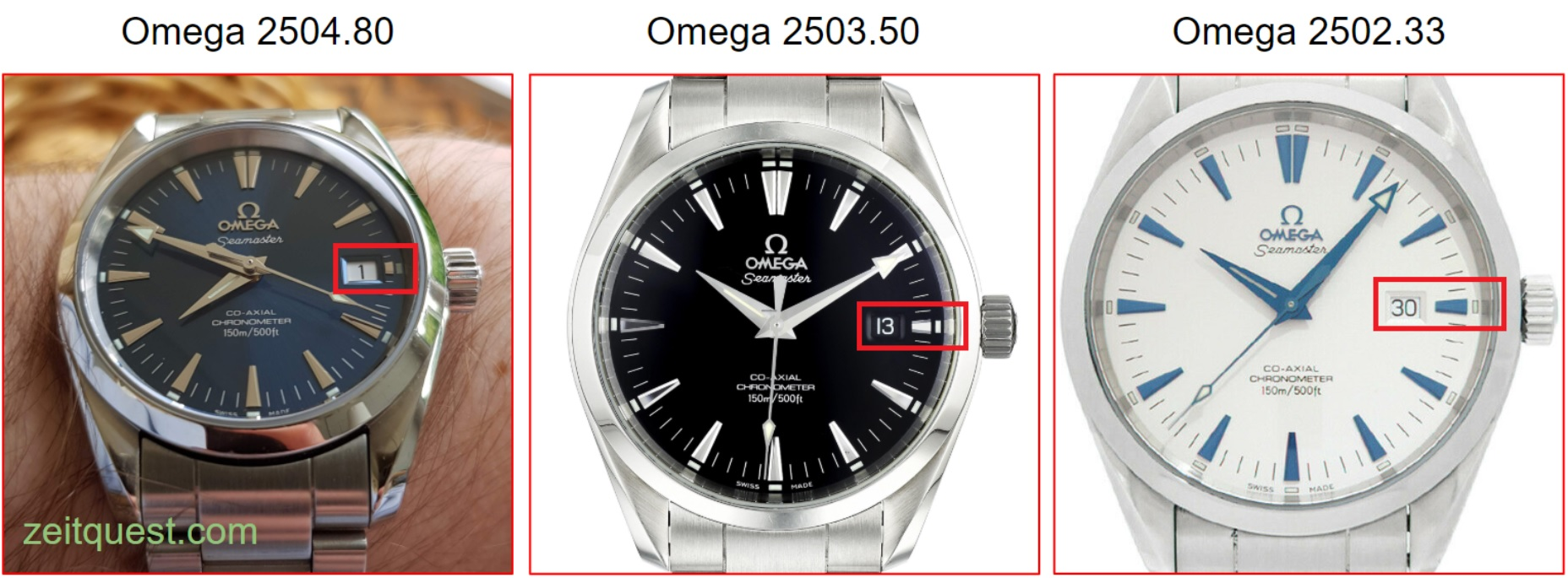 The different sizes of the first generation Omega Seamaster Aqua Terra (36mm, 39.5mm, 42mm). The length of the 3 o'clock marker depends on the diameter.