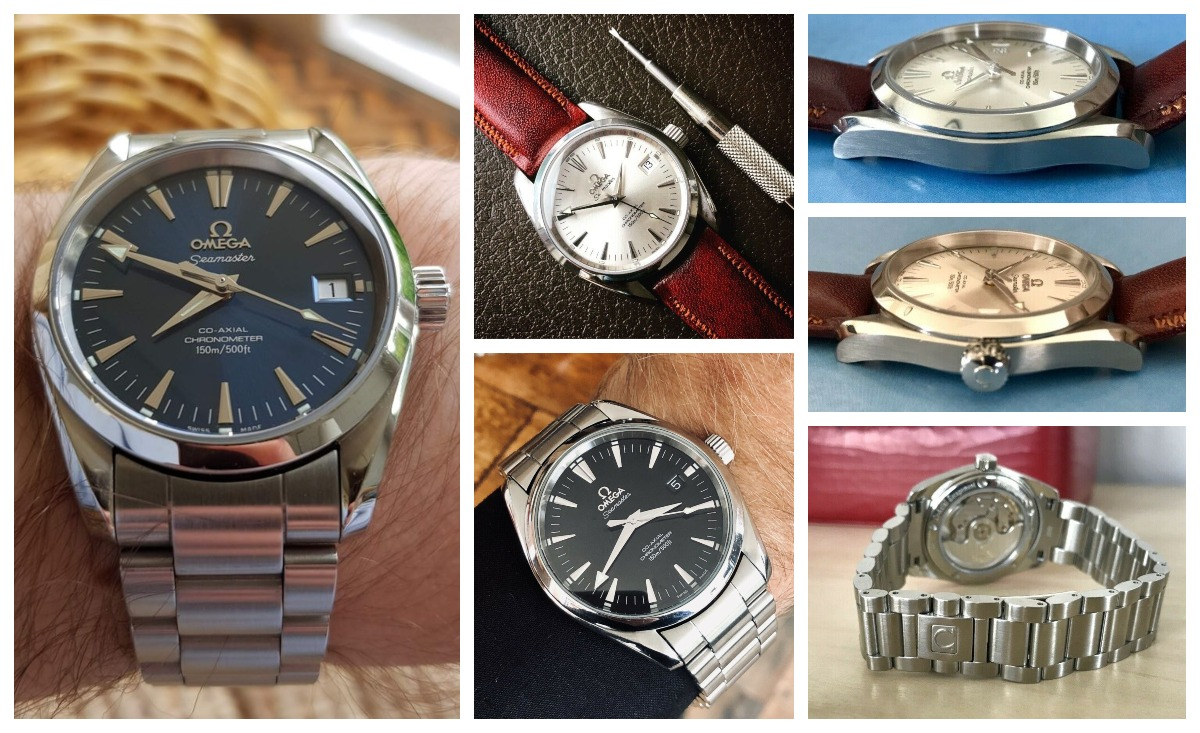 Some Omega Seamaster Aqua Terra models. Left: 2504.80, Center-top: 2504.30, Center-bottom: 2503.50. Available on eBay.