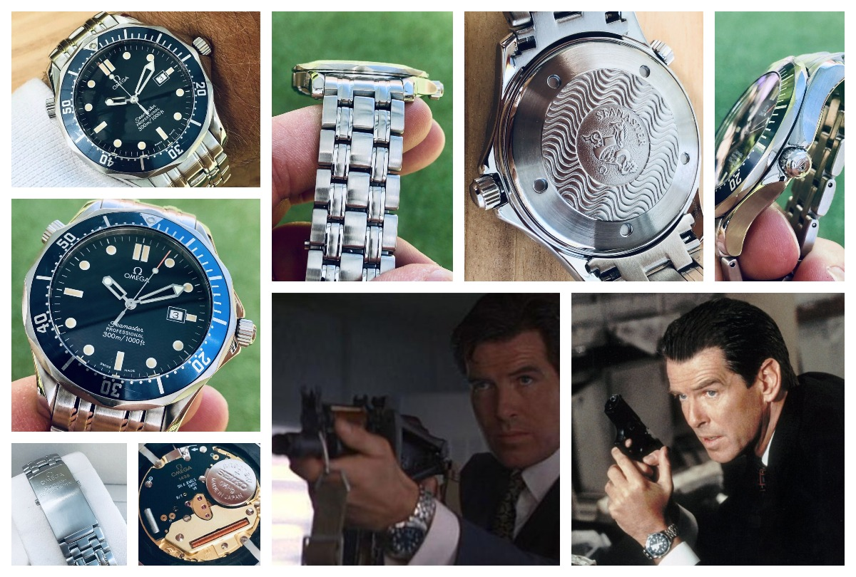 "The Omega Seamaster Professional 2541.80 was worn by Pierce Brosnan in the James Bond movie ""GoldenEye"". This was a quartz watch with the Omega 1438 and 1538 movements. Available on eBay."