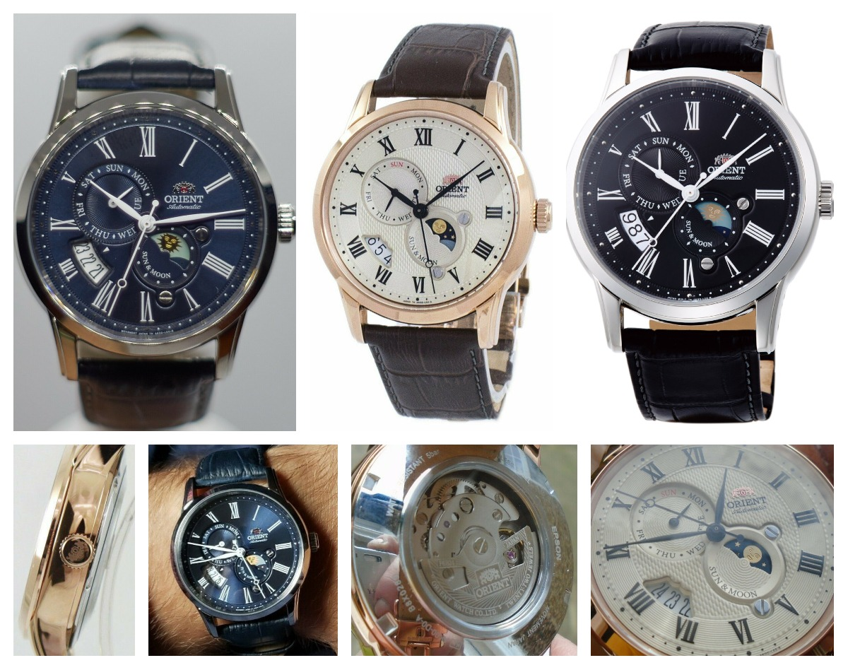 Different models of the Orient Executive Sun and Moon from left to right FAK00005D0, FAK00001Y0, FAK00004B0. Available now on eBay.