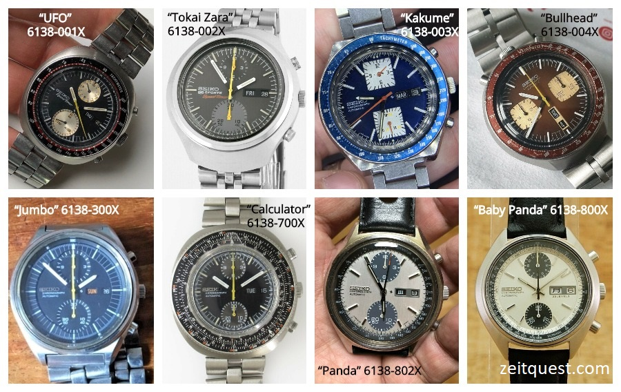 The different models of the Seiko 6138 range, including the iconic Panda, Kakume and Bullhead vintage chronographs. Available on eBay.