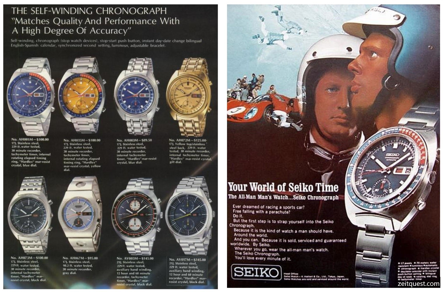 Left: Seiko 1969 Catalog, showing different Seiko 6139-600X models. Right: Seiko Chronograph advertisement by Seiko for the 6139 model (1969). Credits: Seiko 1969 Catalog, Seiko.