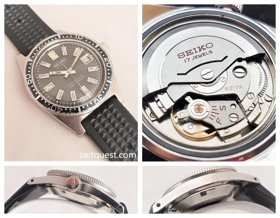 Seiko's first diver, the 62MAS had a date complication provided by the Seiko 6217 automatic movement. Available on eBay.