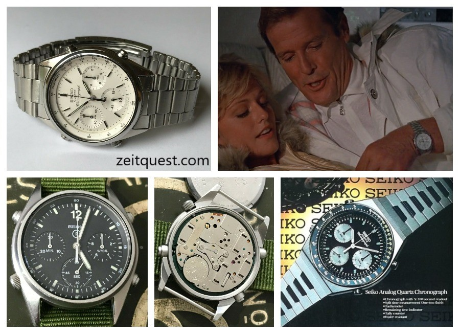 "The Seiko 7A28-7020 (top) was featured in the James Bond film ""A View To A Kill"" whereas the 7A28-7120 was issued to RAF crew (bottom left). The 7A28-7039 ""Speedy/Synchro Timer"" (bottom right) has a similar look to the Omega Speedmaster. Find on eBay."