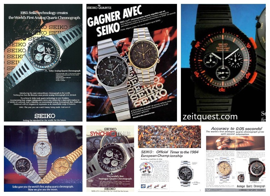 "Seiko heavily advertised the 7A28 Quartz chronograph. At the top, from left to right, you can see vintage advertisement for the 7A28-7039 ""Speedy/Synchro Timer"", 7A28-7049 and 7A28-6000 ""Bishop"". There were also variations with a moonphase, as you can see on the bottom left advert. Find on eBay."