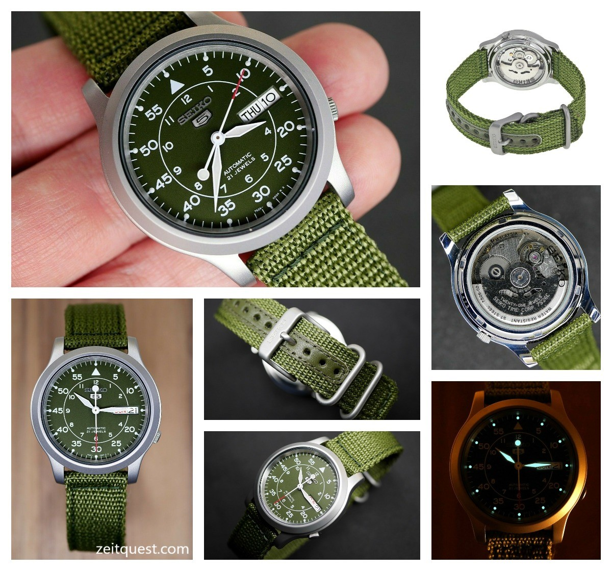The military looking khaki Seiko SNK805, sold on ebay by military.inc