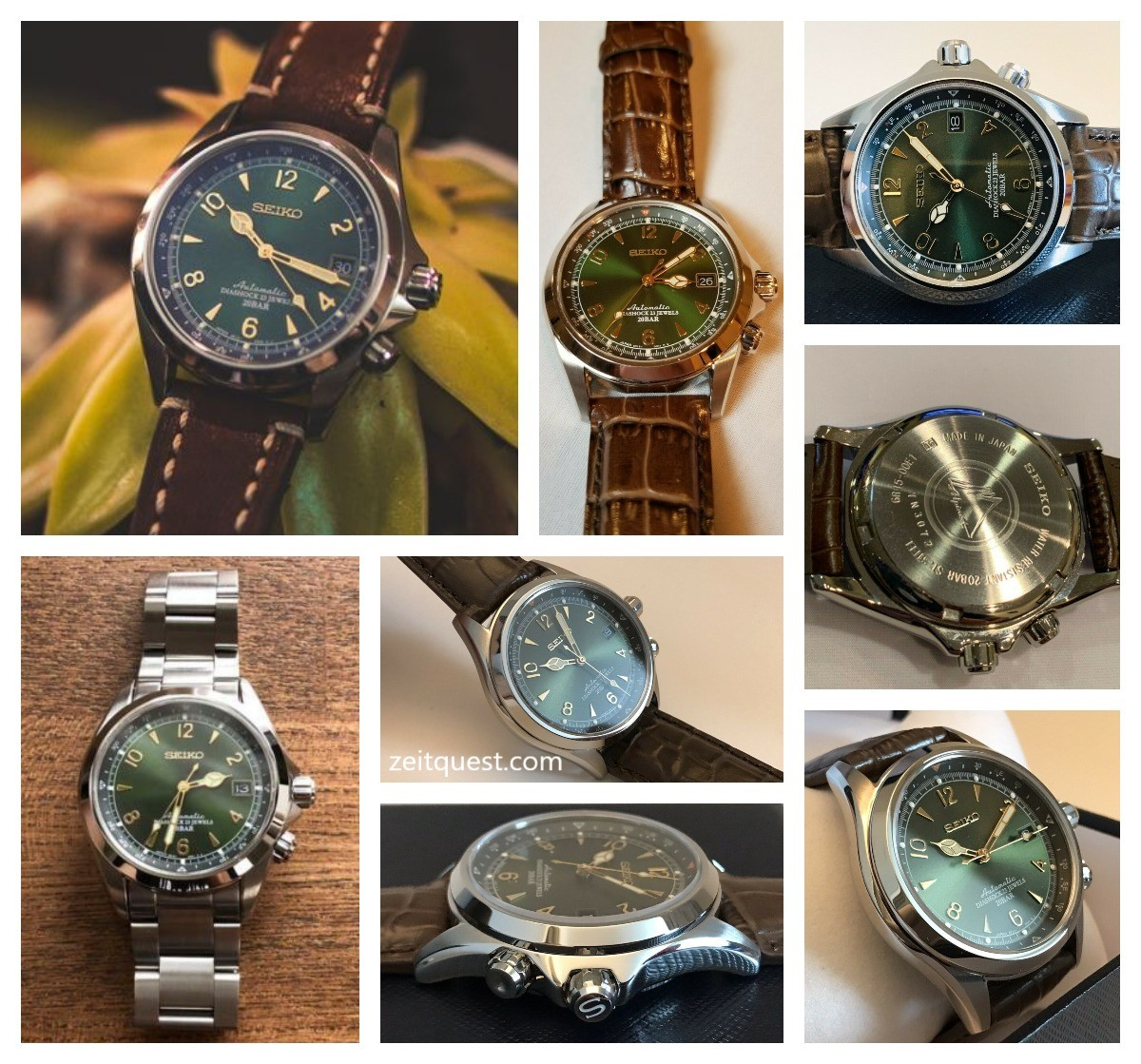 The Seiko SARB017, and its beautiful green dial, on different straps/bracelet. eBay listings.