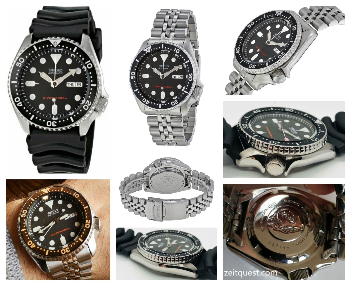 The Seiko SKX007 K1 (rubber strap) and SKX007 K2 (bracelet), having black bezel. Available now on eBay.