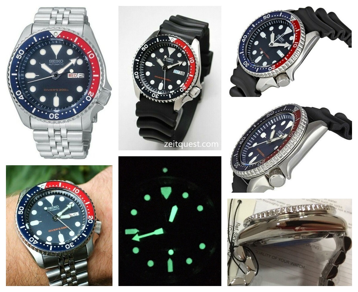 The Seiko SKX009 K1 (rubber strap) and SKX009 K2 (bracelet), having a distinctive blue and red (Pepsi) bezel. Available now on eBay.