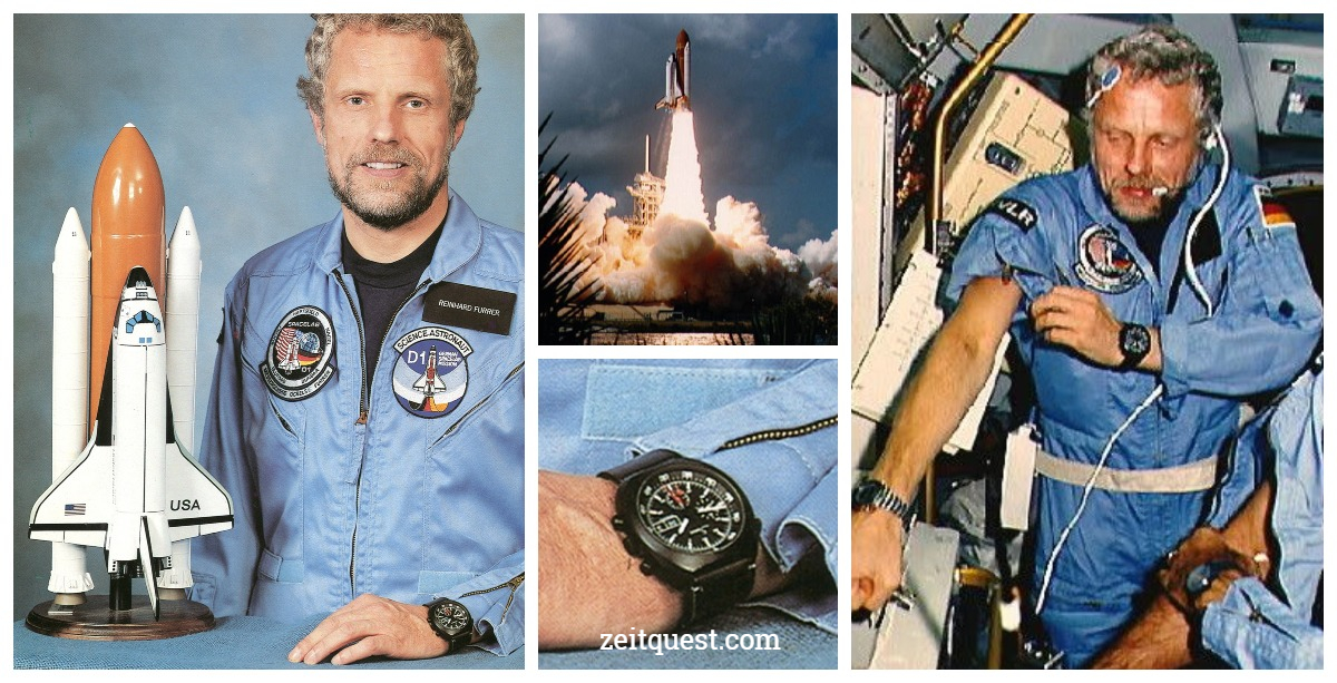 Reinhard Furrer wore his personal Sinn 141S (Lemania 5012) chronograph before and during the Spacelab D1 mission. Credits : NASA.