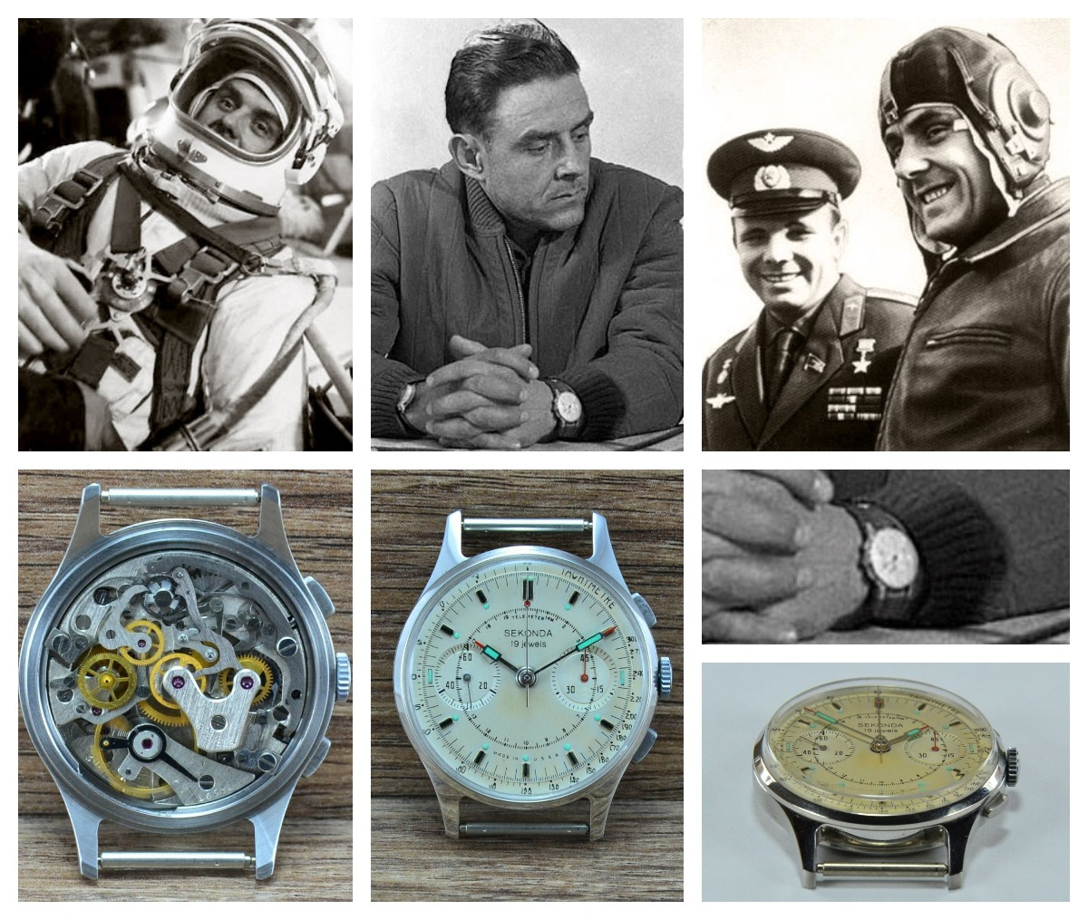 Vladimir Komarov was wearing a Sekonda labeled Strela with a cream dial during his training and the Soyuz-1 mission. Credits: STRELA