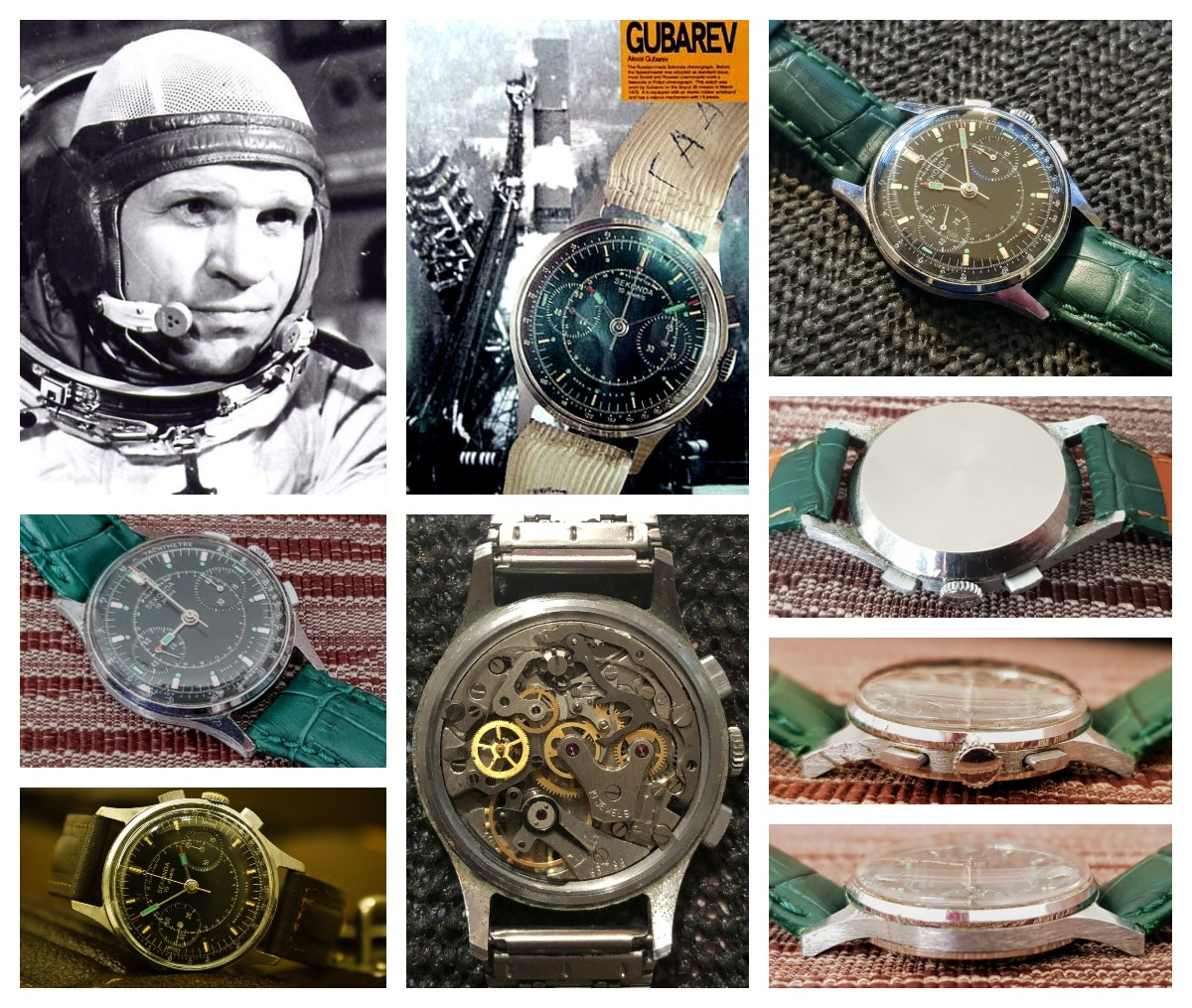 Gubarev wore a black Strela - branded Sekonda - Chronograph watch with the Poljot 3017 hand-wound movement during the Soyuz-28 mission. A great Omega Speedmaster alternative that is getting rare, but can still be found on eBay.