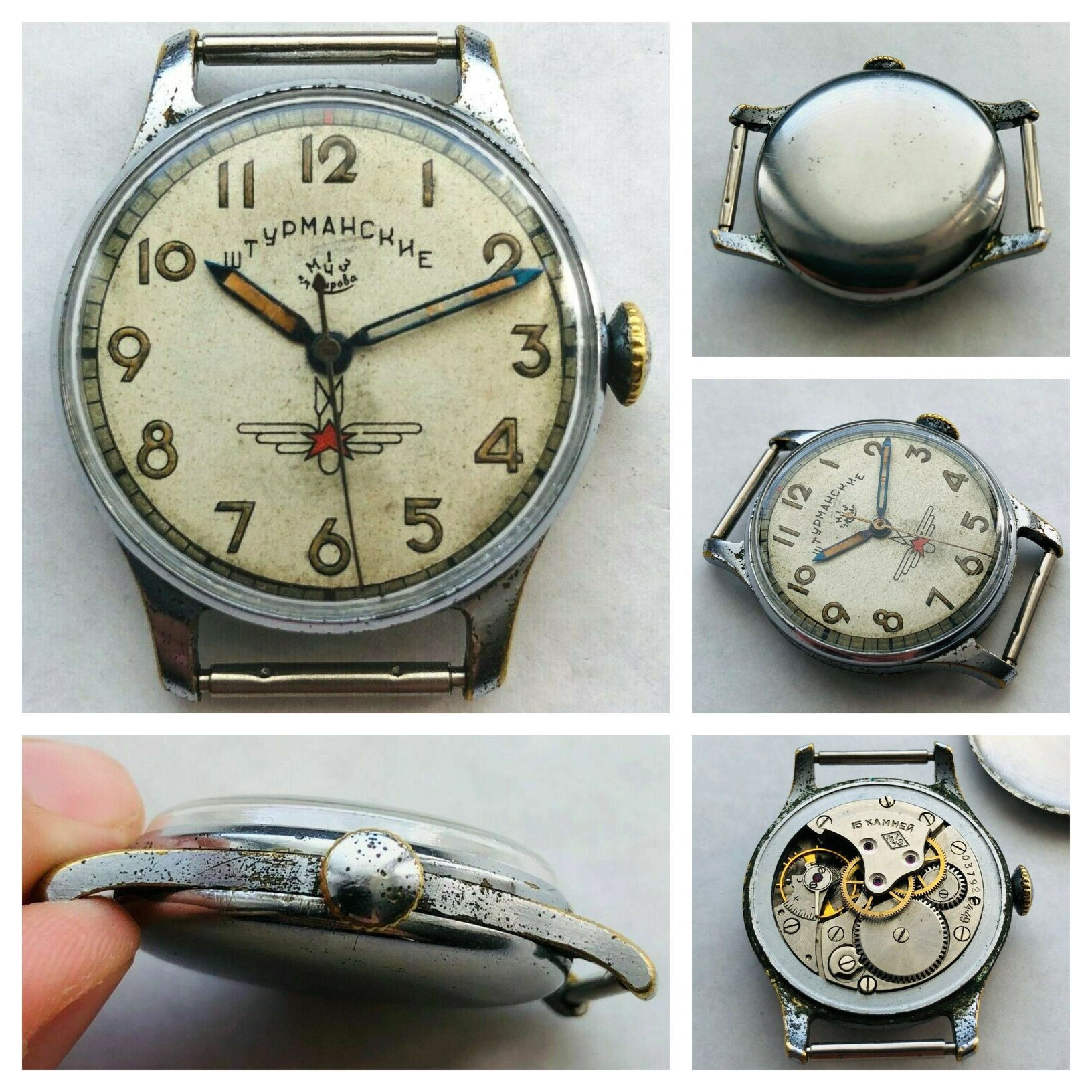 "An original Sturmanskie ""Gagarin"" 15J model from 1949 (movement marked 4.49). Credits: eBay seller ussr_go"