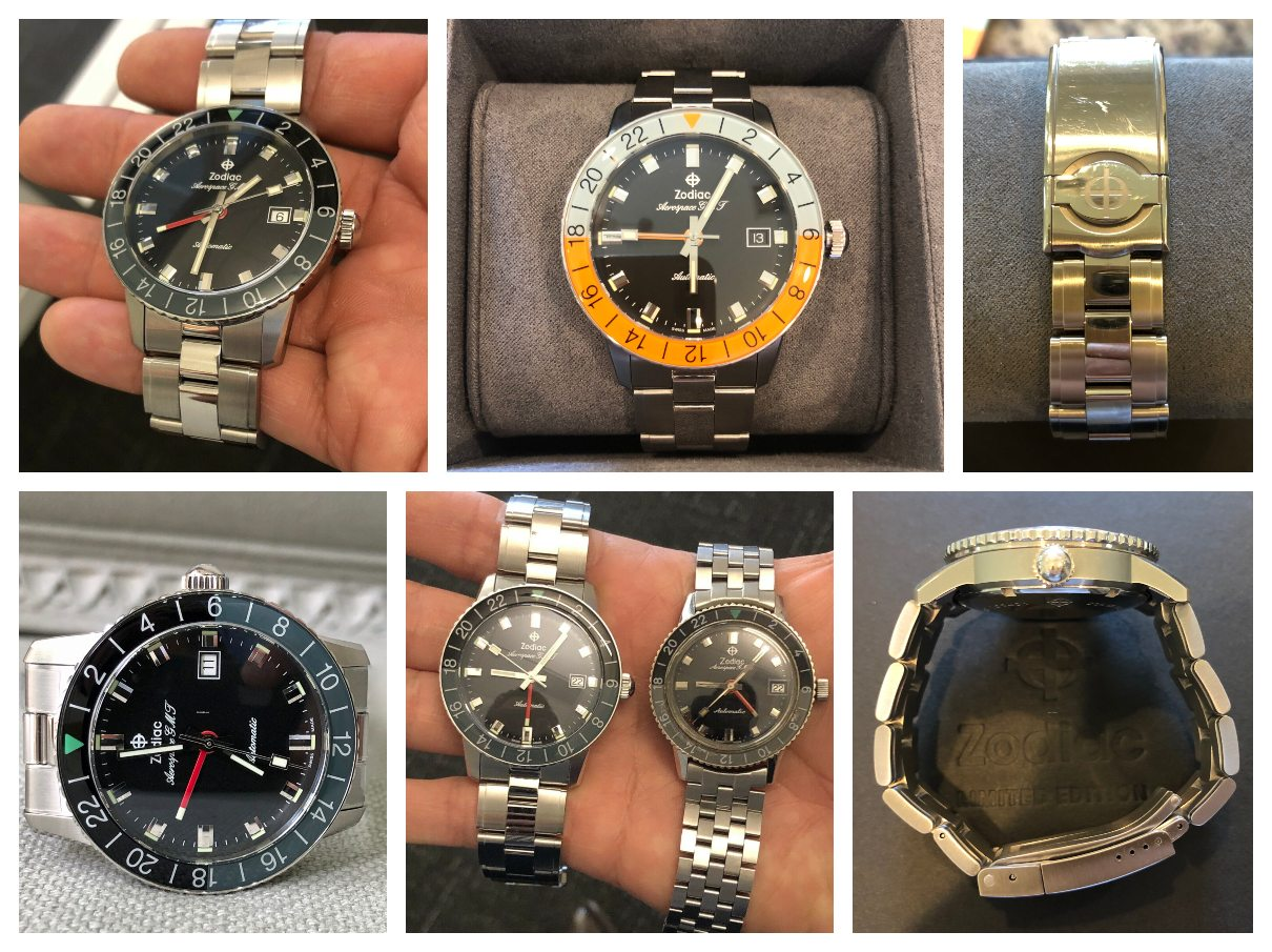 Zodiac Aerospace GMT Limited Editions: ZO9400 (top left), ZO9401 (top middle), with the ZO9400 and the Zodiac Aerospace GMT 1969 side by side (bottom middle). Credits: eBay seller molaiz27
